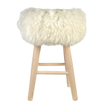 tabouret-lambskin natural white-pols-potten