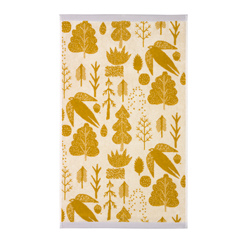 Towels-Hand-Towel-Bird-and-Tree-Mustard-donna-wilson